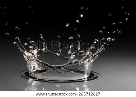 brilliant drops transparent water on black background - stock photo