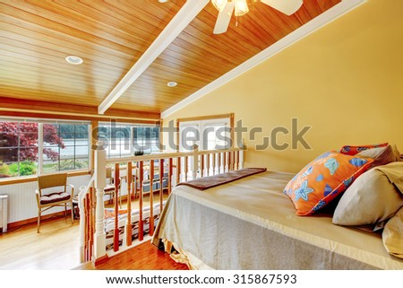 Brilliant guest house with amazing decor and colorful interior. - stock photo