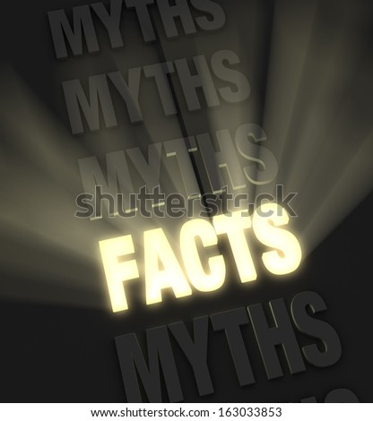 """Brilliant light rays burst from a glowing, gold """"FACTS"""" in a row of """"MYTHS"""" on a dark background  - stock photo"""