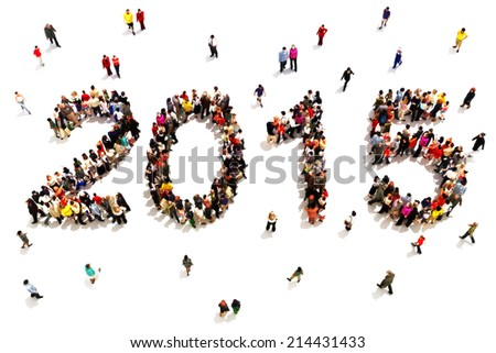Bringing in the new year. Large group of people in the shape of 2015 celebrating a new year concept on a white background. Vertical version also available. - stock photo