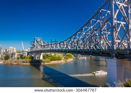 BRISBANE, AUS - MAY 12 2015: Brisbane Skyline with Story Bridge and the river. It is Australias third largest city, capital of Queensland. - stock photo