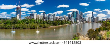 Brisbane, AUS - 18 NOV 2015: Panoramic view from Kangaroo point overlooking Brisbane City and river during a sunny day. - stock photo