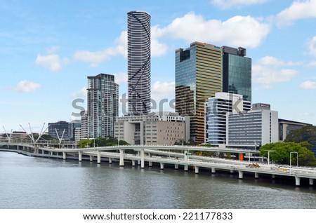 BRISBANE, AUS - SEP 24 2014:Brisbane Skyline.It is Australias third largest city, with its fastest growing economy in Australia. - stock photo