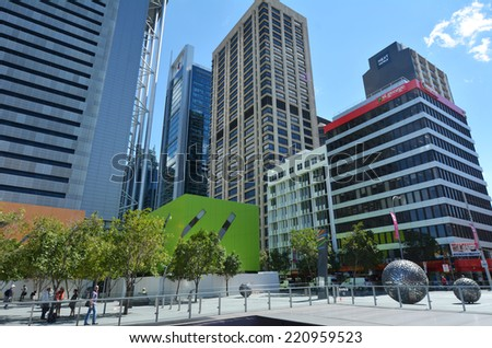 BRISBANE, AUS - SEP 26 2014: Visitors in Brisbane City. Brisbane is the capital and the 3rd most populous city in Australia. Brisbane's metropolitan area has a population of 2.24 million people. - stock photo