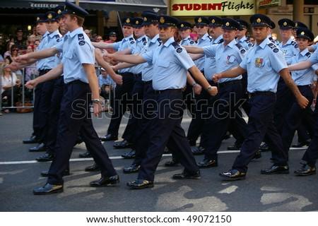 BRISBANE, AUSTRALIA - APRIL 25 : Modern Air Force Veterans Marching in Anzac Day March April 25, 2009 in Brisbane, Australia. - stock photo