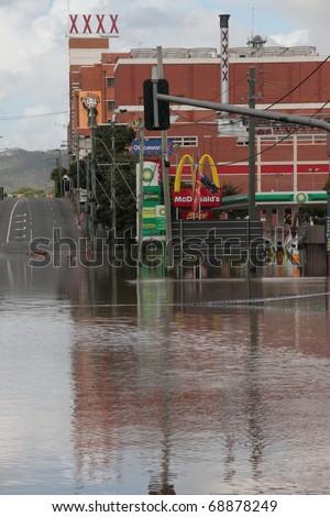 BRISBANE, AUSTRALIA - JAN 13 : Flood  Brisbane Milton brewery area Queensland declared natural disaster January 13, 2011 in Brisbane, Australia - stock photo