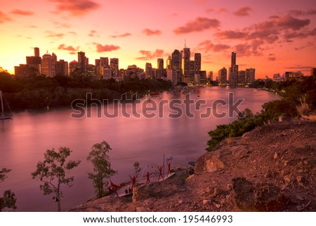 Brisbane, Australia - May 24th, 2014: View from Kangaroo point in Brisbane where tourists visit to see the city and families bbq.  - stock photo