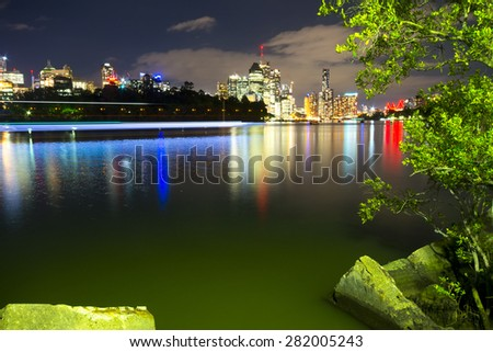 BRISBANE, AUSTRALIA - 27 MAY 2015: The inner-city of Brisbane viewed across the Brisbane River from Kangaroo Point on 27th May 2015. - stock photo