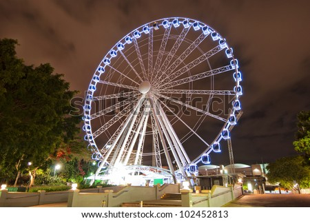 Brisbane City - Southbank carousel at night - Queensland - Australia - stock photo