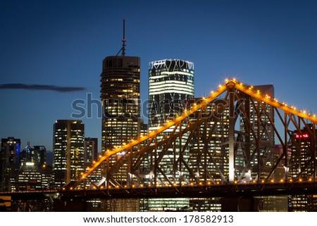 Brisbane, QLD - April 15: Brisbane city shines at dusk on a warm autumn day on April 15, 2013 - stock photo