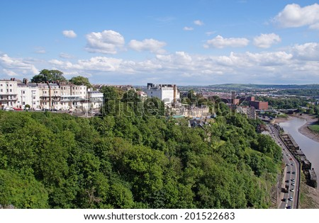 Bristol and River Avon that passes through the deep Avon Gorge seen from The Clifton Suspension Bridge - stock photo