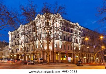 Bristol Hotel in Odessa, Ukraine at night - stock photo