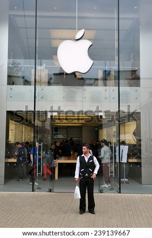 BRISTOL- SEP 21:General view of the exterior of an Apple store as the technology giant launches the iPhone 5 in the UK and Europe on Sep 21, 2012 in Bristol, UK. - stock photo