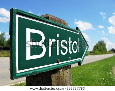 Bristol signpost along a rural road - stock photo