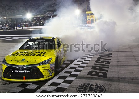 Bristol, TN - Apr 19, 2015:  Matt Kenseth (20) wins the Food City 500 at Bristol Motor Speedway in Bristol, TN.