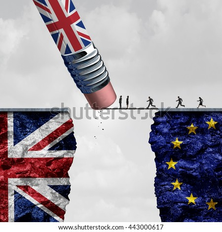 Britain European Union change and independence decision as a brexit leave concept and UK leaving vote as a pencil with the british flag erasing a link blocking entry with 3D illustration elements.3D - stock photo