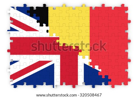 British and Belgian Relations Concept Image - Flags of the United Kingdom and Belgium Jigsaw Puzzle - stock photo