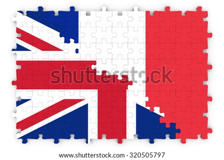 British and French Relations Concept Image - Flags of the United Kingdom and France Jigsaw Puzzle - stock photo