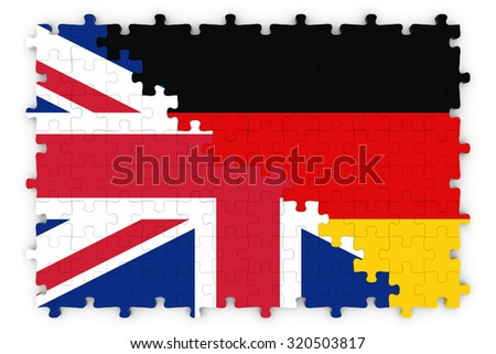 British and German Relations Concept Image - Flags of the United Kingdom and Germany Jigsaw Puzzle - stock photo