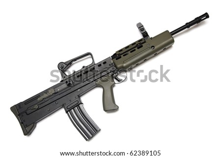British Armed Forces legendary assault rifle L85A2. Isolated on a white background. L85A2 version of assault rifle (full name Rifle, 5.56mm, L85A2) - stock photo