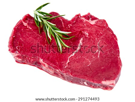 British Beef steak , rosemary. Ready to Cook.  isolated on white background. - stock photo
