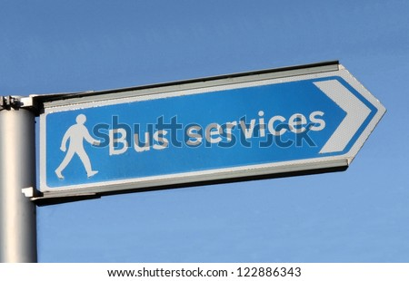 British Bus Services road sign. - stock photo
