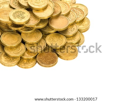 British coins on a white background - stock photo