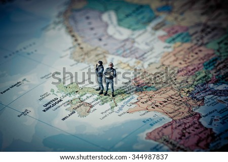 British Counter Terrorism Command on top of UK map. Color tone tuned. - stock photo