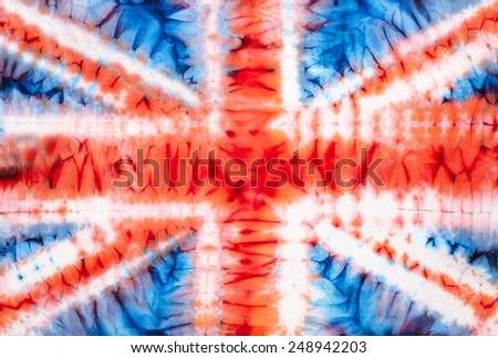 British flag. Abstract tie dyed fabric background - stock photo