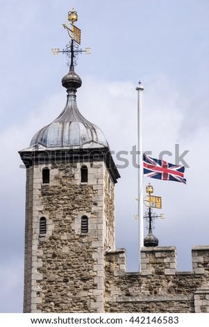 British flag at half mast - stock photo