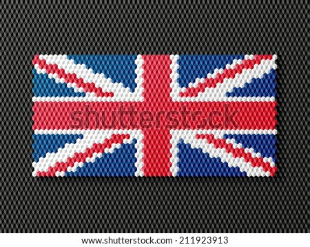 British flag consisting of cubes. Vector illustration.  - stock photo