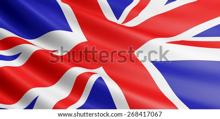 British flag fluttering in wind. - stock photo