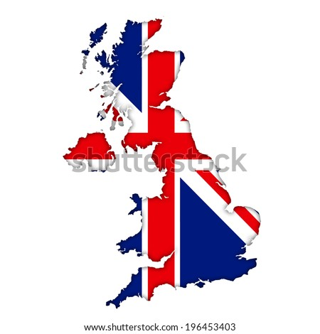 British flag map icon - stock photo