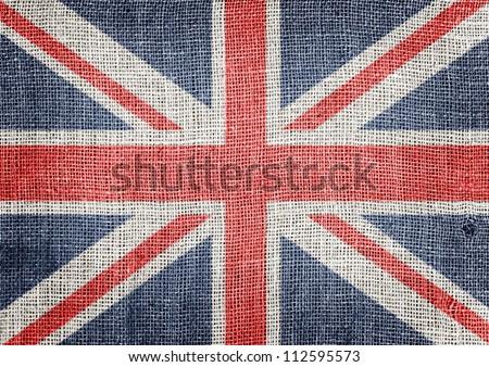 British flag on jute - stock photo