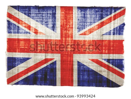 British flag on original papyrus background - stock photo