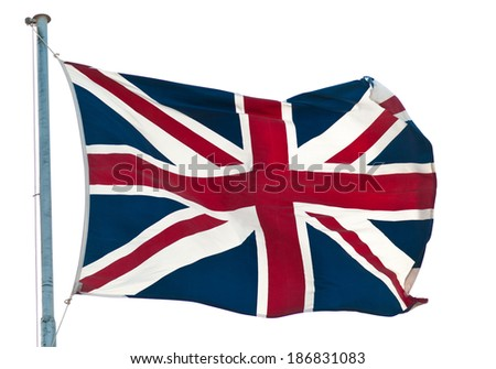british  flag  Union Jack flying  against white - stock photo