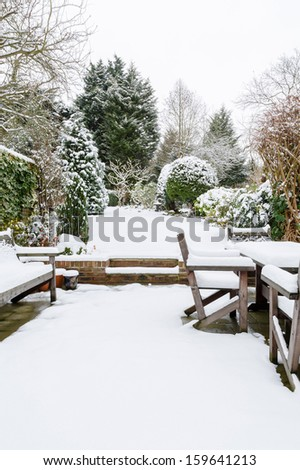 British garden in winter - stock photo