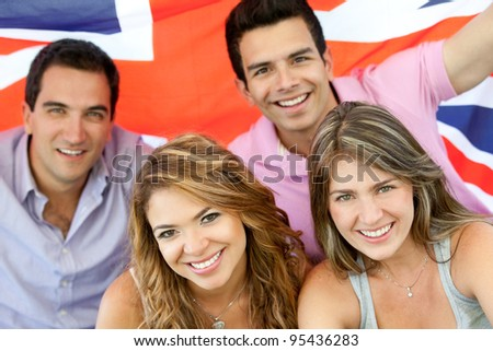 British group of people with the Union flag - stock photo