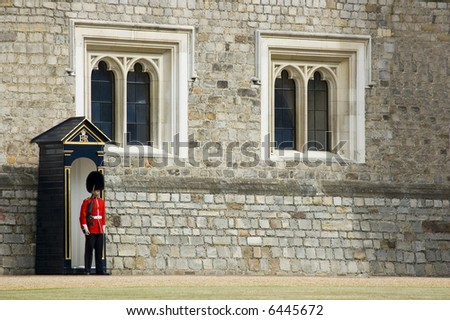 British guard at Windsor Castle (England) - stock photo