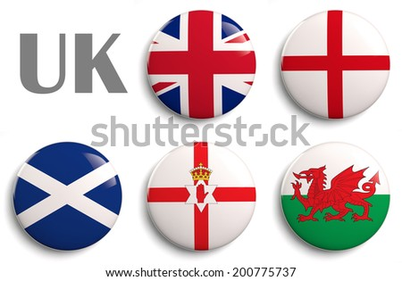 British Isles flags of the United Kingdom countries.   - stock photo