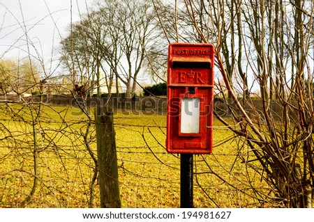 British mail box in the countryside - stock photo