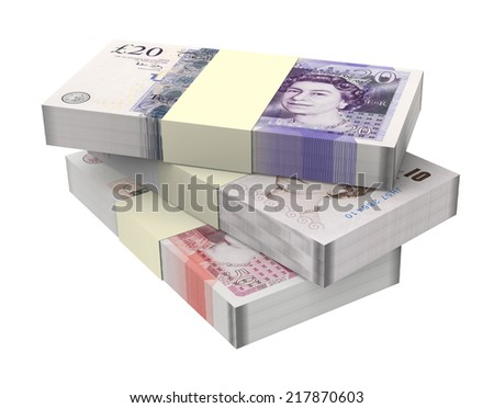 British money isolated on white background. Computer generated 3D photo rendering - stock photo