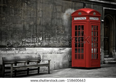 British Phone Booth in London, United Kingdom - stock photo