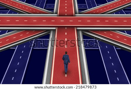 British plan and the future of Great Britain including England Scotland and Wales as a concept of the direction of the british economy as a businessman walking on a group of roads shaped as a flag. - stock photo