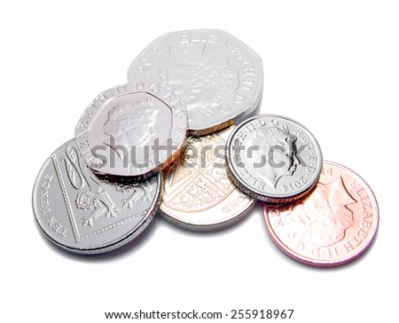 British Pound Coins GBP - stock photo