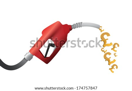 british pound currency gas pump illustration design over a white background - stock photo