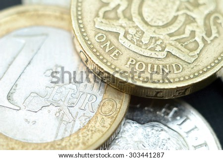 British Pound to Euro Rate - stock photo