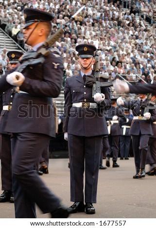British Royal Air Force Queen's Colour Squadron Drill Team on parade at Edinburgh Military Tattoo - stock photo