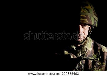 British Soldier In Shadow - stock photo