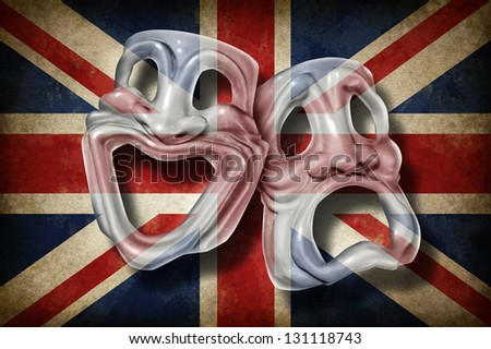 British theatre and English performing arts concept with an old flag of Britain on a comedy and tragedy mask representing the rich cultural tradition of classical cinema and movie making in England. - stock photo